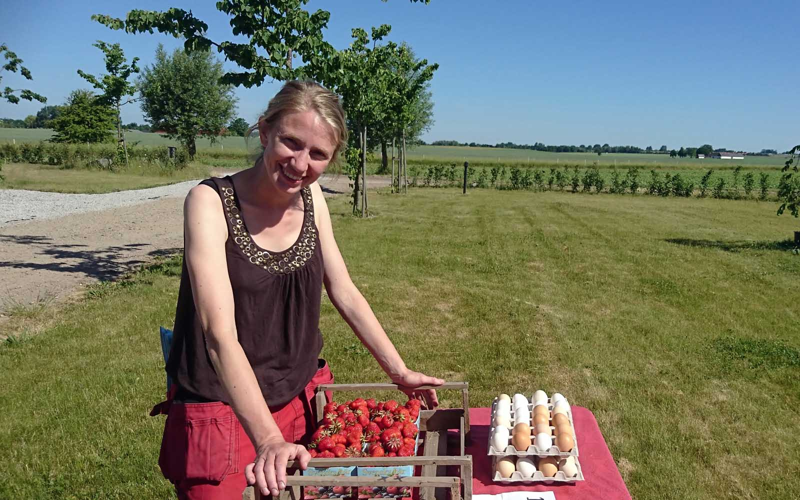Elin säljer dagens skörd av jordgubbar och ägg